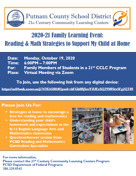 2020-21 Family Learning Event: Reading & Math Strategies to Support My Child at Home