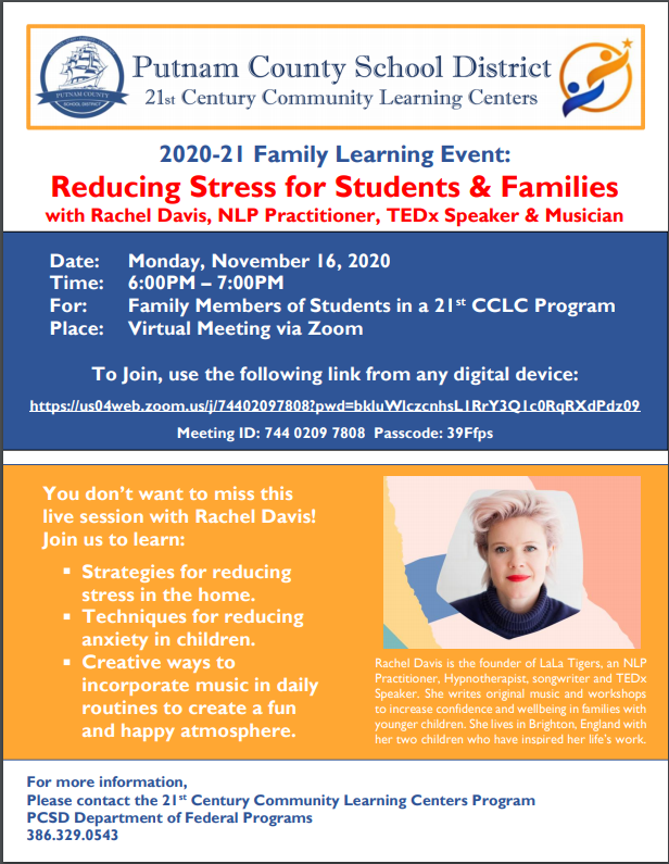 UPDATED! PCSD 21st Century Community Learning Center: Reducing Stress for Students & Families