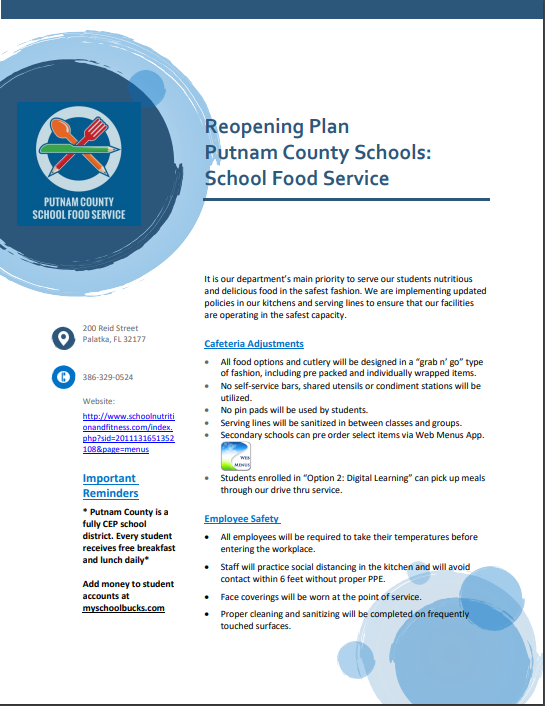 PCSD Food Service Reopening Plan 20-21