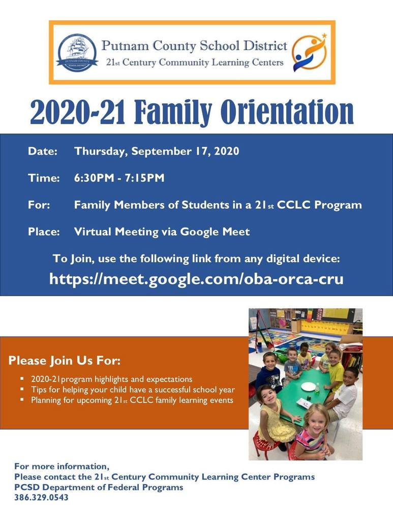 PCSD 21st Century Community Learning Center: Virtual Parent Orientation